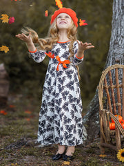 Girls Halloween Themed Long Sleeve Printed Maxi Dress
