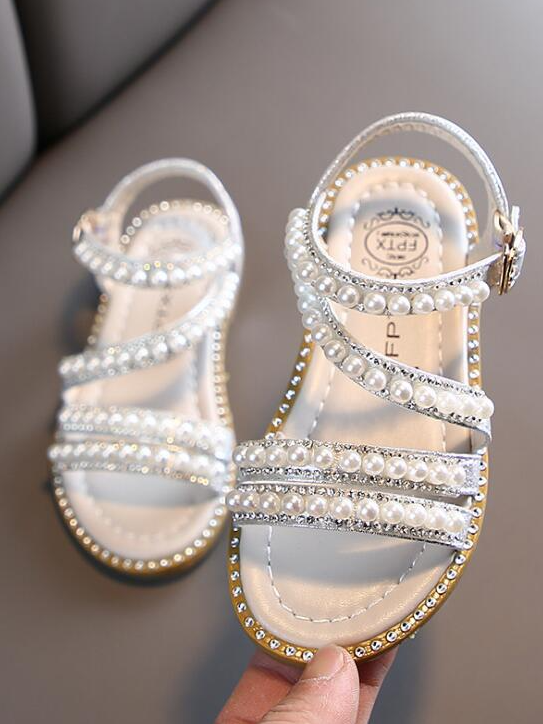 Girl Pearls and Glitter Sandals By Liv and Mia