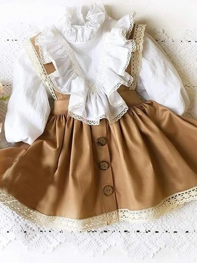 Girls Classic Beauty Top and Overall Dress Set