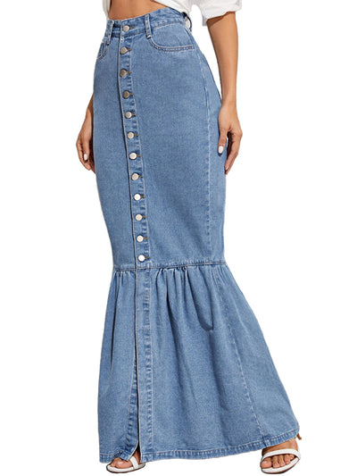 Women's Fishtail Denim Maxi Skirt