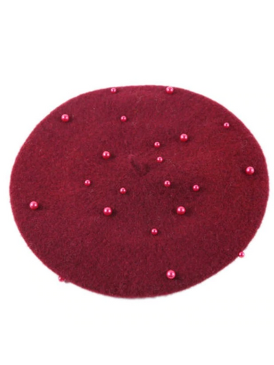 Girls Wool Pearl Beret