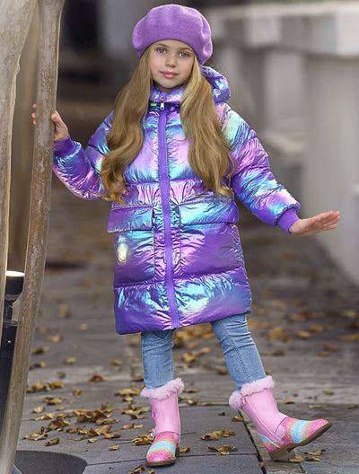 Girls Metallic Puffer Coat 3T-10Y Purple