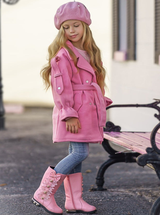 Girls Lacey Bow Tie Princess Mid-Calf Boots ( 3 Color Options) - Pink / 10 - Girls Boots