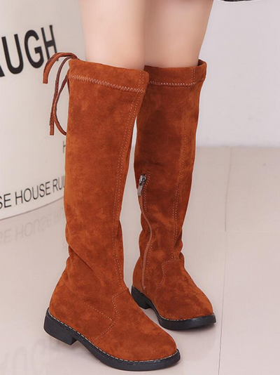 Girls Knee High Zip-Up Boots By Liv and Mia