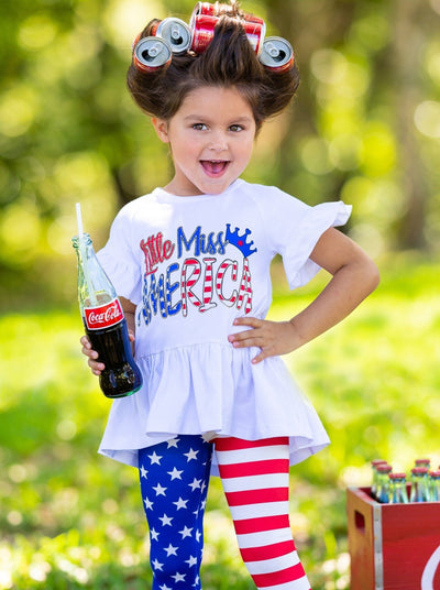 "girls Set features a hi-low ""Little Miss America"" printed tunic with Americana leggings"