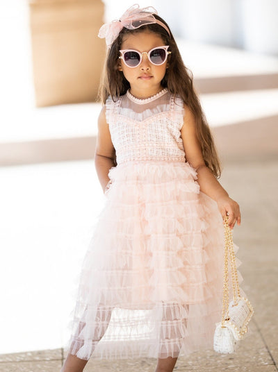 girls spring multi layer ruffle special occasion dress 4t-8Y