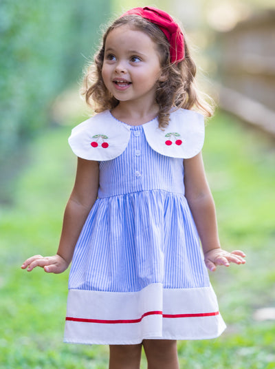Girls Striped Cherry Embroidered Collar A-Line Dress - Blue / 2T/3T - Girls Spring Casual Dress