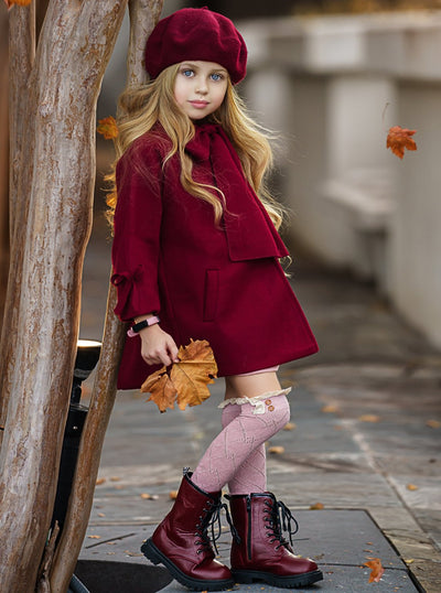Girls Medium Long Wool with Bowknot Coat 18M-10Y Burgundy