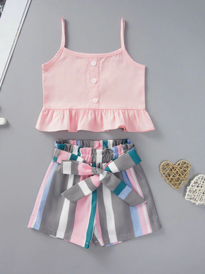 Girls Sleeveless Ruffle Crop Top and Striped Short Pants Set