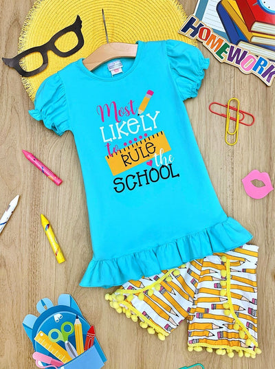 "Girls ""Most Likely to Rule the School"" Ruffled Top and Pencil Pom Pom Shorts Set"