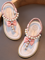 Girls Pearls and Diamond Stretch Back Sandals By Liv and Mia