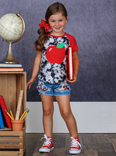 Girls Apple Tie Dye Top and Patched Denim Shorts Set