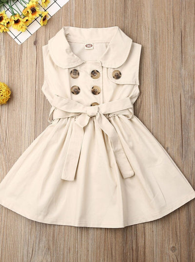 trench style belted dress has 2-row buttons and a little collar