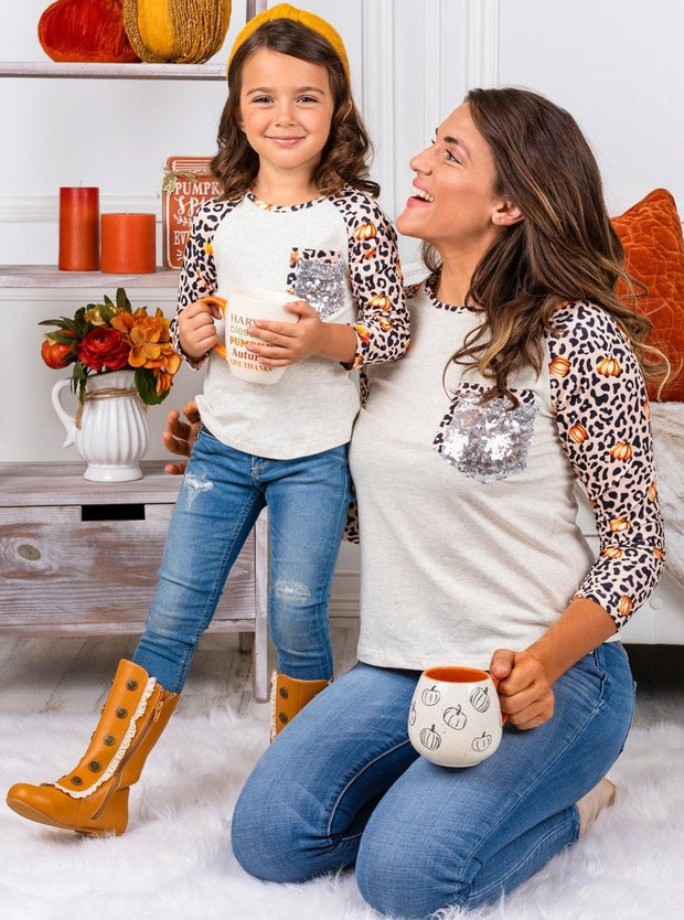 Mommy and Me Pumpkin Leopard Sleeve Sequin Pocket Top