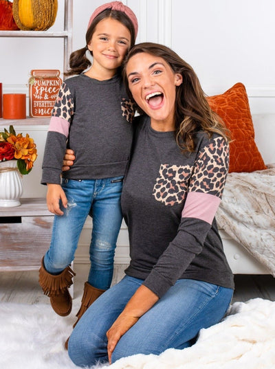 Mommy and Me Leopard Striped Pocket Top