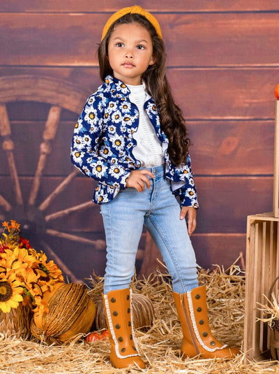 Girls Ruffled Faux Button Printed Blazer Style Cardigan