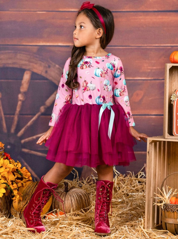 Girls Pumpkin Leaves Print Bow Tutu Dress