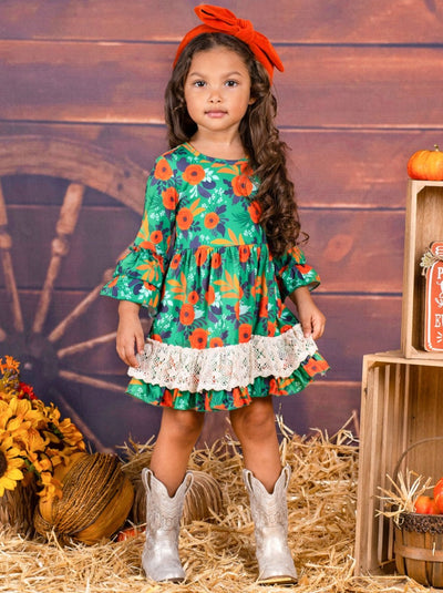 Girls Floral Crochet Ruffled Dress