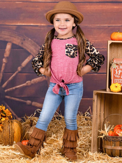 Girls Ruffled Leopard Pocket Knot Top