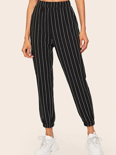 Women's Vertical Striped  Casual Pants