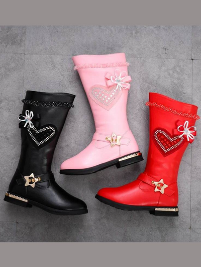 Girls Heart and Rhinestones Boots by Liv and Mia