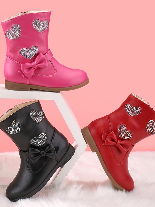 Girls Heart to Heart Ankle Boots By Liv and Mia