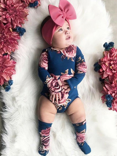 Baby set features a long-sleeved set with floral print with matching socks and a headband