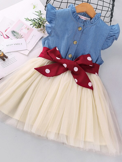 Girls Denim Bodice with Tutu Skirt Dress