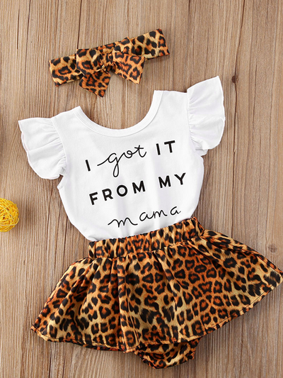 "Baby set features a ruffled top with an "" I got it from my Mama"" print onesie and leopard skirted bloomers with a headband"