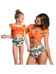 Women's Orange and tropical leaf two piece swimsuit S to XXL