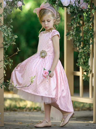Girls Printed Cap Sleeve Hi-Lo Tulle Holiday Dress - Girls Fall Dressy Dress