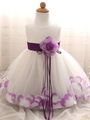 Baby Dress with Flower pedal hem and belt with flower applique purple
