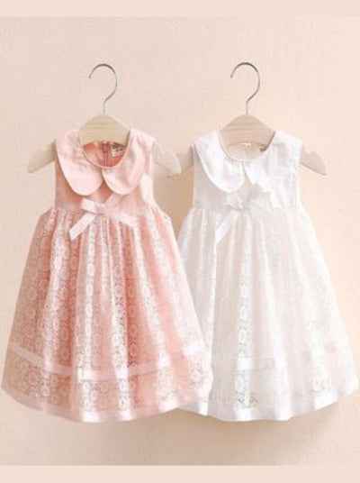 Girls Spring lace dress with collar and bow 2T-10Y