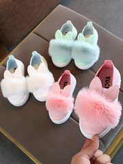 Girls Bunny Ear Faux Fur Slip-On Sneakers By Liv and Mia