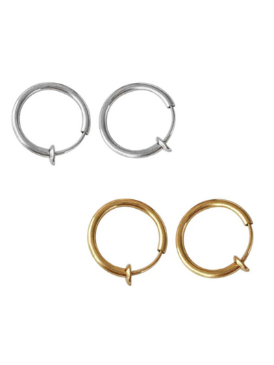 Girls 2 Piece Clip On Fake Hoop Lip Hoop Ring Earrings