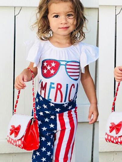 Girls 'Merica Flutter Sleeve Blouse and  Star Striped Pants Set