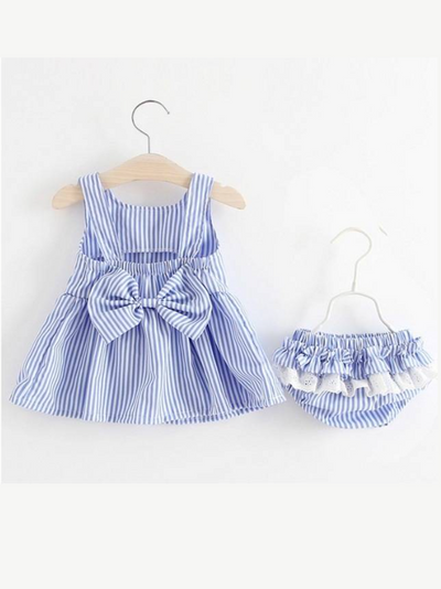 Baby Striped dress with bow at the back and ruffled matching bloomers