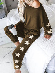 Women's Star Print Loose Lounge Top with Matching Jogger Pants