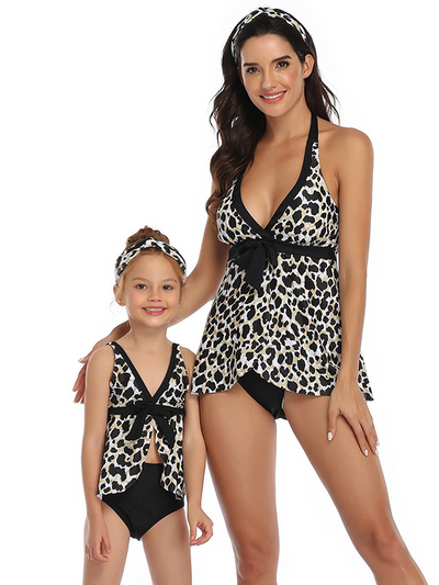Mommy and Me Sun Fun Leopard Two Piece Swimsuit