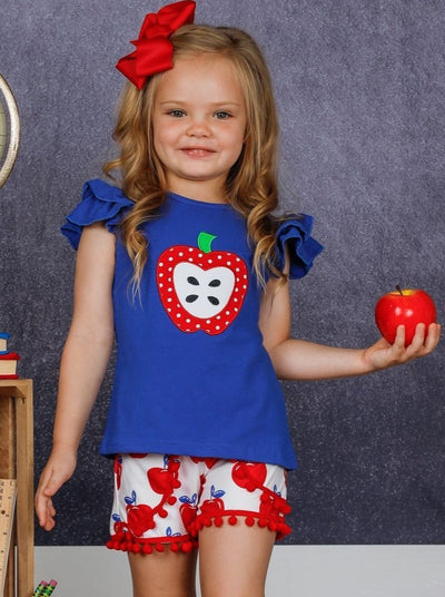 Girls Apple Applique Ruffled Top and Pom Pom Shorts Set