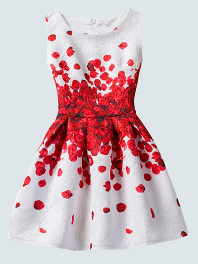 Girls Printed A-Line Dress - Red Flower / 6 - Girls Spring Casual Dress