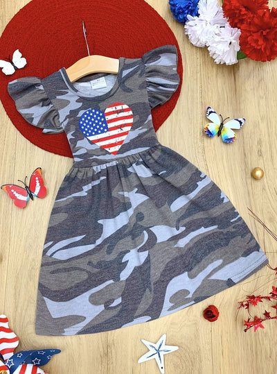 Girls Patriotic Camo Flag Heart Ruffled Dress