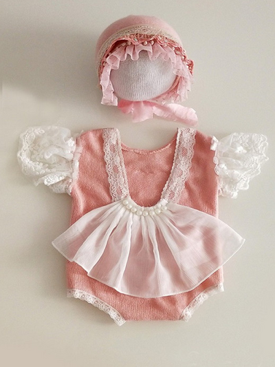 Baby set features a onesie with tulle train and little tulle ruffled sleeves and matching cap pink