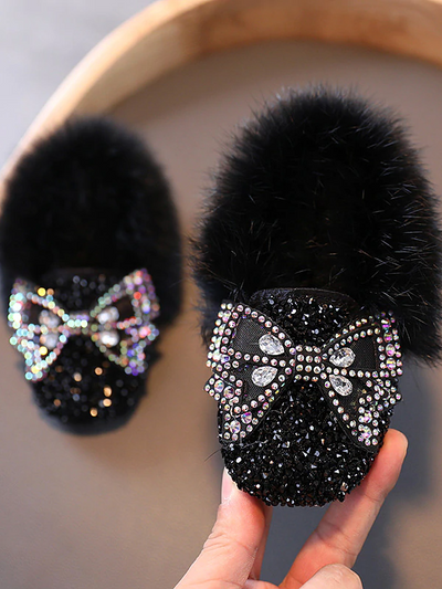 Girls Faux Fur Glitter Shoes By Liv and Mia