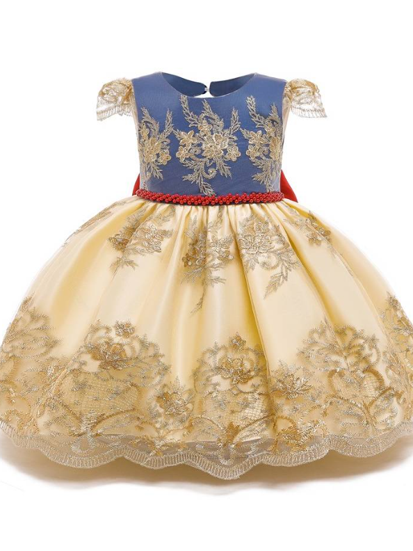 Baby Floral Lace Embroidery Beaded Dress With Bow Dress