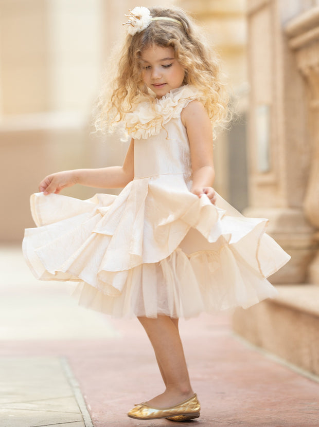 Girls Ruffled Lace Tulle Layer Dress - Champagne / 2T - Girls Spring Dressy Dress