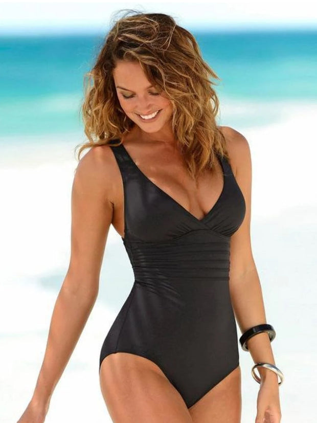 Women's Vintage One Piece Cross Back Swimsuit
