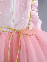 Baby Spring Baby tulle dress has delicate gold star details-pink-tulle-ruffled
