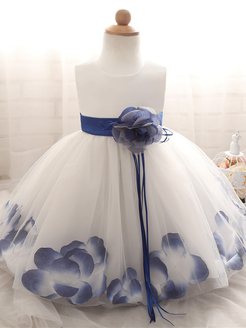 Baby Dress with Flower pedal hem and belt with flower applique blue