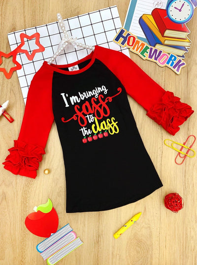 "Girls 1st Day of School 1st Day of School Red & Black Long Ruffled Sleeve ""Bringing Sass to the Class"" Printed Color Block Top"
